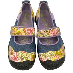 Keen Denim and Floral Patchwork Mary Janes